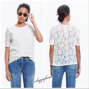 Madewell ivory lace refined tee